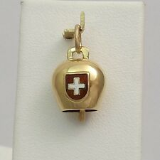 18K Yellow Gold Switzerland Swiss Flag Chiming Cow Bell Charm Pendant 2.3gr