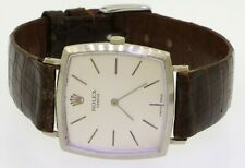 Rolex 18K white gold manual winding men's dinner watch w/ silver dial