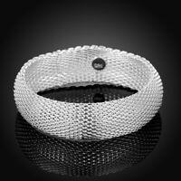 18K White Gold Filled Open Cuff Mesh Bangle Bracelet AL433