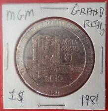 1981 Mgm Grand Hotel Casino Reno, Nevada Vintage Logo $1.00 Slot Token 1981!