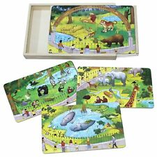 Wooden Zoo Animals  Jigsaw Puzzle with Storage Box for Kids Early Learning