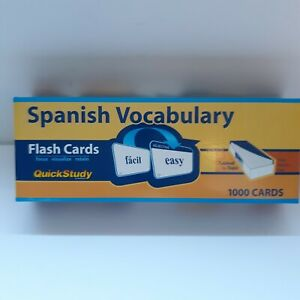 Spanish Vocabulary Flashcards 1000 Qty. Tabed By Topic, Quck Study Easy New