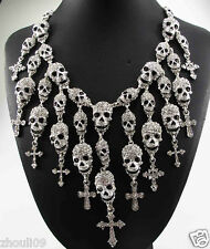 Design HUGE Lady Statement Crystal Chunky Chain Charm Silver Necklace 857