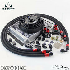 """30 Row -8AN AN8 engine Transmission Oil Cooler + 7"""" Electric Fan Kit BLACK"""
