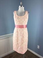 Ann Taylor M 8 P Pink Brocade Sheath dress Grosgrain Bow Cocktail Party