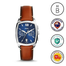 New Fossil Mens Watch Knox Navy & Silver Trim Tan Leather Strap Dual Time FS5354