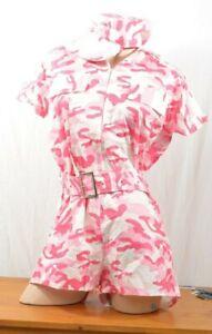 Cute Army Pink Costume Playsuit Hat M L UK 12 -14 Cute Hen Night