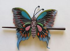 Hair Clip-Hair Stick-Butterfly-colorful -faux leather -blue gray green pink red