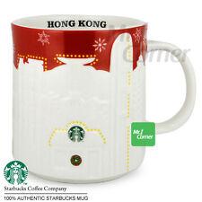 SM147 16oz starbucks China Hong Kong city white Red Xmas relief Mug