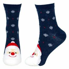 Women's Snow Scene Santa Christmas Crew Socks - One Size