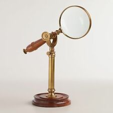 Magnifying Glass w/Wooden Handle On Metal Display Stand, Vintage Antique Style