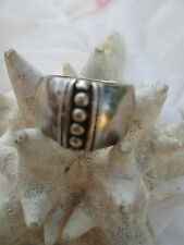 VINTAGE STERLING SILVER BEAD RING SZ 7.5 MARKED SU