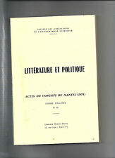 Littérature et politique Actes du Congrès de Nantes 1974 Etudes Anglaises 66 8@@