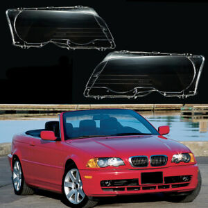 Pair LH+RH Front Headlight Lamp Cover Lens  for BMW E46 323ci 325ci 328ci 330ci