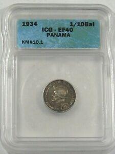 XF 1934 Silver 1/10 Balboa PANAMA ICG EF40 KM#10.1.  #12