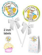 40 ZOO JUNGLE SAFARI BABY SHOWER FAVORS STICKERS for lollipops, favors, etc