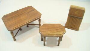 3 piece lot of vintage StomBecker walnut dollhouse furniture