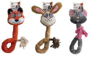 Fofos Rope Dog Toys Pack of 3 Fox Mouse Rabbit Eye Toy Interactive Fun