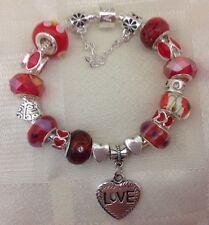 *Handmade Luxury Red Valentine Heart Chunky Lampwork Beaded Charm Bracelet*