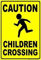 Caution Children Crossing Aluminum Metal Sign Made in USA