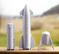 "Spacex Starship SN8 SN5 Hopper 10"" model 3d Printed 1:200 Scale 3 Pack"