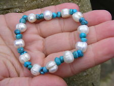 Pearl & Turquoise Gemstone Crystal Bead Bracelet A Grade 10mm & 6mm Beads