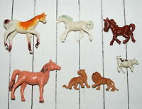 Vintage Imperial Toy Plastic Horse Animals Cow Lions Figures Pink Hong Kong