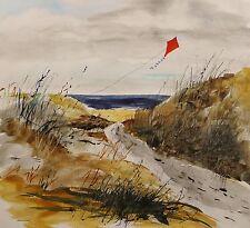 ORIGINAL KITE Sea LANDSCAPE Large  Painting JMW art John Williams Watercolor