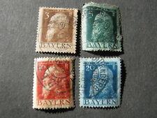 BAVARIA 1911 3pf, 5pf, 10pf, 20pf  SG 138c, 139c, 140d, 141b  GOOD USED
