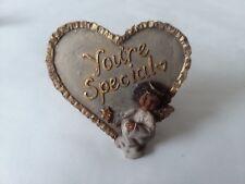Sarah's Attic Gold Tone Heart Stand You're Special Angel Desk Shelf Decor