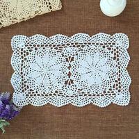 Handmade Crocheted Doily Doilies Placemat Rectangle Cotton Lace Mat 27x43cm