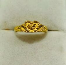 24K Solid Yellow Gold Heart Ring 3.10Grams Size 7 (299$)