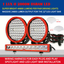 OSRAM LED Car Truck Light Bar 22 inch + LED Spotlight 9 inch Pair Flood Spot Red