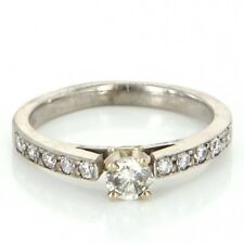 Vintage 14k White Gold Diamond Engagement Right Hand Ring Fine Estate Jewelry