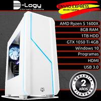 D-Logy Ordenador Gamer Gaming PC AMD Ryzen 5 1600X 8GB 1TB GTX 1050 Ti 4GB Win10