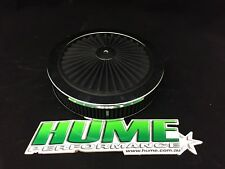 "HI FLOW 9"" X 2"" AIR CLEANER FILTER ASSEMBLY HOLLEY 4150 CHROME BLACK 45721"