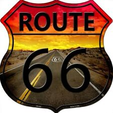 "Route 66 Sunset 11"" Highway Shield Metal Sign Novelty Retro Home Wall Decor"