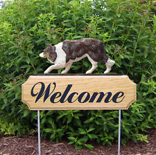 Border Collie Dog Breed Oak Wood Welcome Outdoor Yard Sign Red Merle