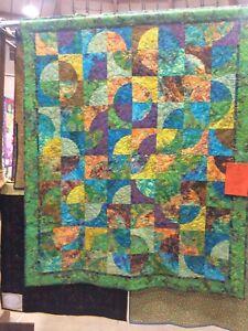 "Batik Pieced quilt, 60""x  75"" Green Leaf Batik Backing, Professional Quilted"