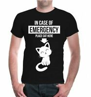 Herren Unisex Kurzarm T-Shirt In case of emergency place cat here Katze Sprüche