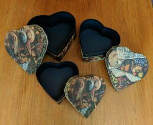 "Set of 3 Heart-shaped ""Hats & Roses"" Nesting Storage Boxes, #0415008"