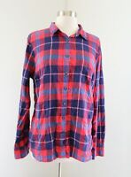 NWT $69 J Crew Perfect Fit Plaid Button Down Shirt Blouse Size L Red Blue