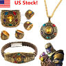 USA Thanos Necklace Infinity Gauntlet Power Ring Avengers Halloween Jewelry Prop