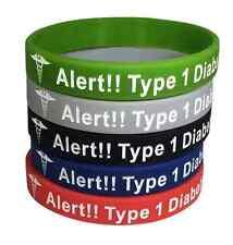 Diabetes Bracelet Medical Alert ID Rubber Type 1 Diabetic Insulin (Set Of 5)