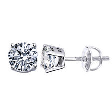 1 Ct 14K White Gold Over Screw Back Round Brilliant Cut Solitaire Earrings Stud