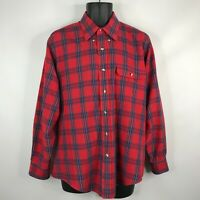 Vintage 80s Levis Colorgraphs Mens Red Purple Plaid Button Down Shirt Size L
