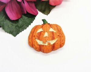 Cute Vintage Enamel & Resin Glow In The Dark Eyes Halloween Pumpkin Tack Brooch!