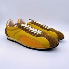 Coach Men's Colourblock C122 Satin Suede Sneakers Mustard Camel Orange Sz 13