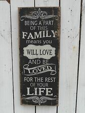 Subway art chalkboard wood box sign BEING PART OF THIS FAMILY country home decor