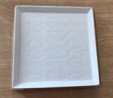 L'Objet Byzanteum White Square Tray 8x8 Limoges Porcelain Paris Checkered Plaid